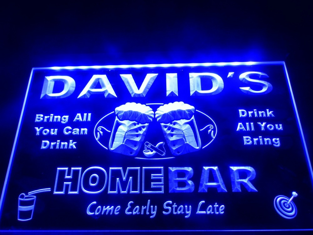 dz001 home bar beer family name led neon light sign in plaques signs from home garden on. Black Bedroom Furniture Sets. Home Design Ideas