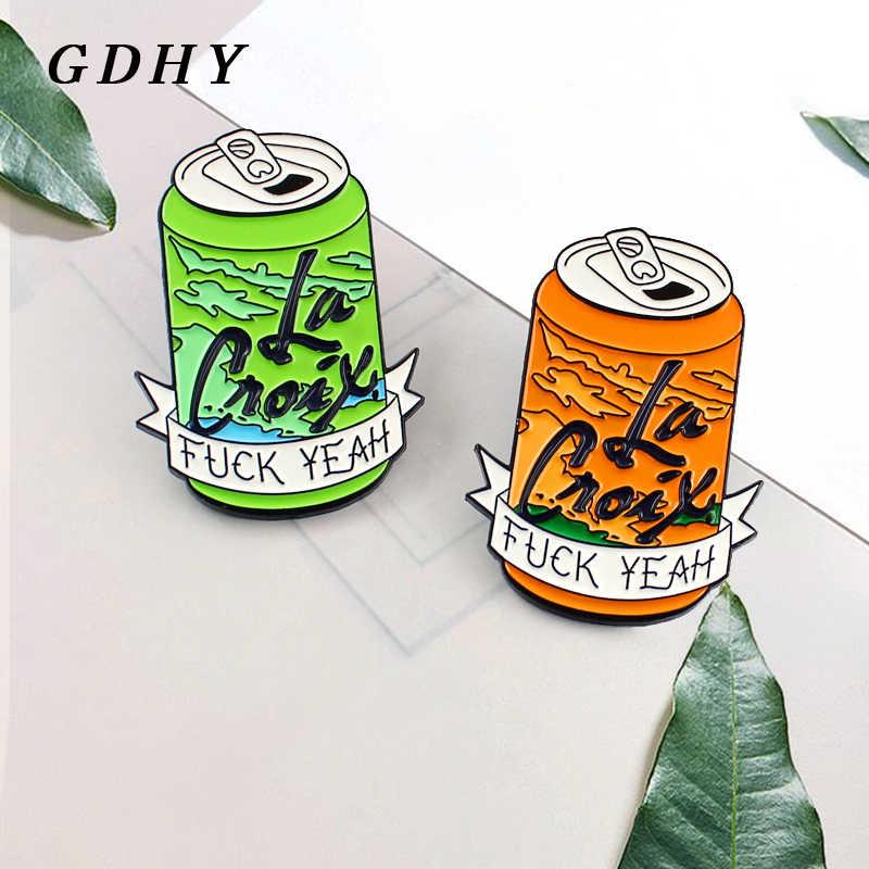 GDHY эмаль FXXK да фрукты напиток банки Coca Cola бутылка брошь булавки зеленый оранжевый