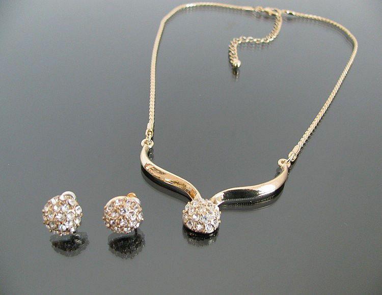 Vintage Fashion Rhinestone Gold color Plated Jewelry Sets Bridal