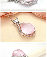 Luxury Jewelry Girls Lady's gem PINK Gems Rose Pendant  Silver Crystal Powder Water Drop Necklace for  Gift