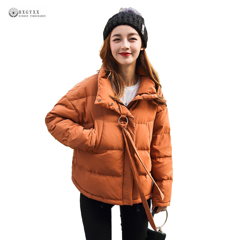 2018 New Arrival Women Winter Down Jackets Short Outerwear Pure Color Stand Collar Parka Female 90% White Duck Down Coat OK1173