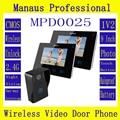 """Hot selling 9"""" TFT 2.4G Wireless Video Door Phone Intercom Doorbell Home Security 1 Camera 2 Monitor D25C"""