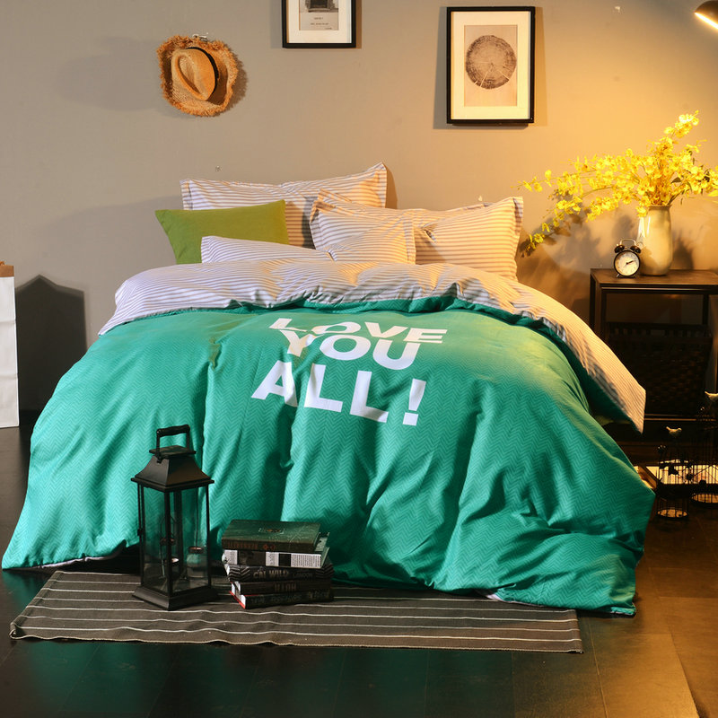 Emerald Solid Color+White Lettering Pattern 4Pcs Queen Size Bedding Set Brief Duvet Cover Sheet  Bed Set Pillowcase Home TextileEmerald Solid Color+White Lettering Pattern 4Pcs Queen Size Bedding Set Brief Duvet Cover Sheet  Bed Set Pillowcase Home Textile