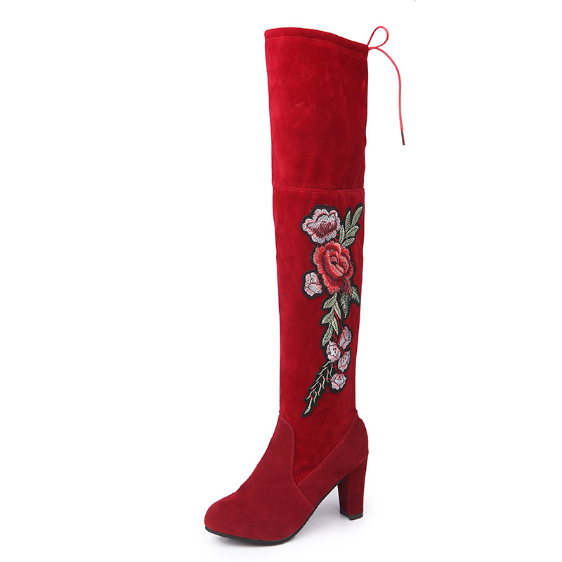 Ladies Thick Heels Over The Knee Lace Up Long Motorcycle Boots Shoes Winter Women Embroidery Flower High Heels Boots Shoes