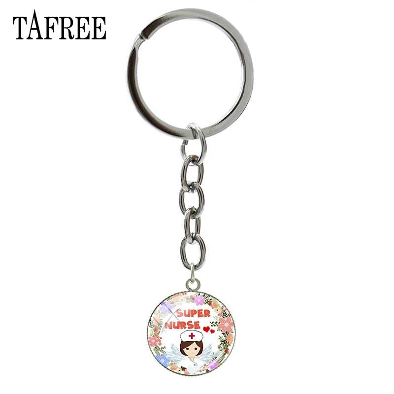 TAFREE Super Nurse Cartoon Pendant Keychain 2019 new Hot Sale Fashion Medical students Gifts jewelry bag car kryring NR12