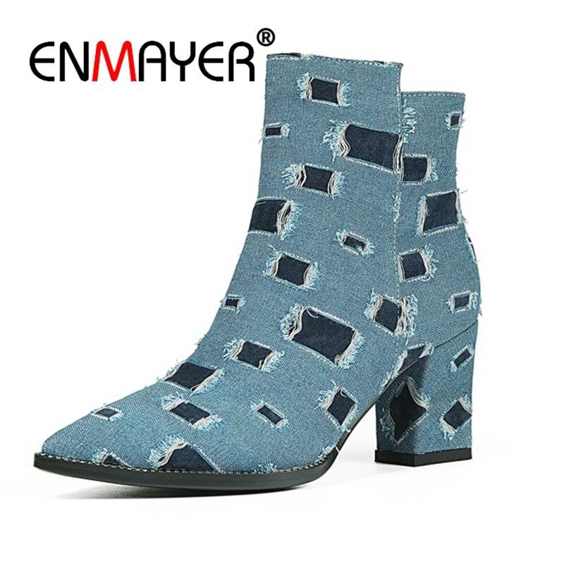 ENMAYER femmes bottines grande taille 33-43 casual talons hauts talons épais mode bottes bout pointu Denim chaussures femmes Zip CR1297