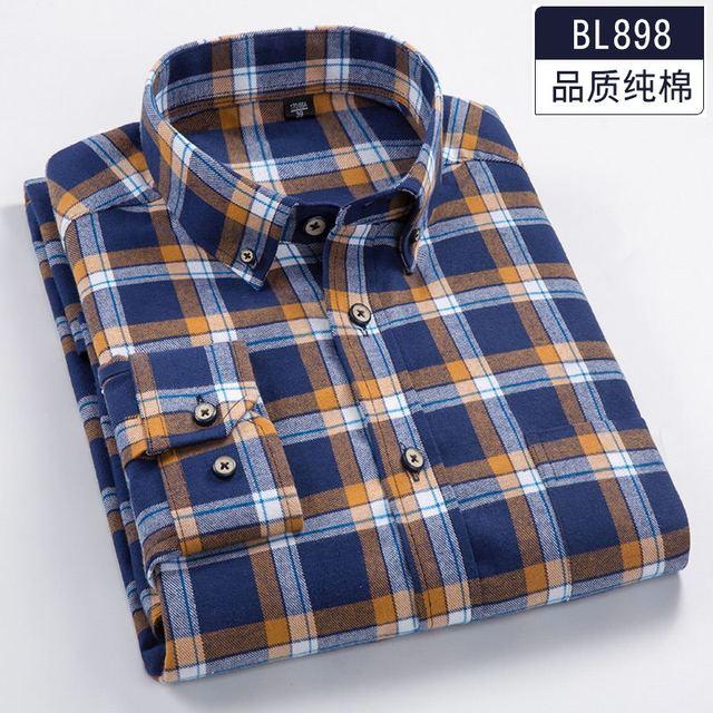 7fe9f6d58fe 2018 Spring 6XL 7XL 8XL Plaid Casual Full Cotton Long Sleeve Dress Shirt Men  Soft 110KG 120KG 130KG Fat Guy Camisa Masculina