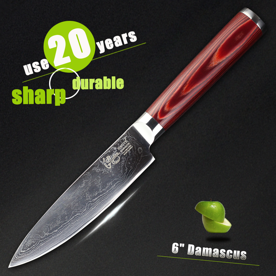 HAOYE 6 inch small chef knife Japanese VG10 Forged steel lightweight Damascus kitchen knives home sushi