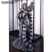 TOPFUR 2019 Fashion Winter Real Fox Fur Outerwear Coats Women Teal Silver Genuine Leather Female Coat Hooded Long