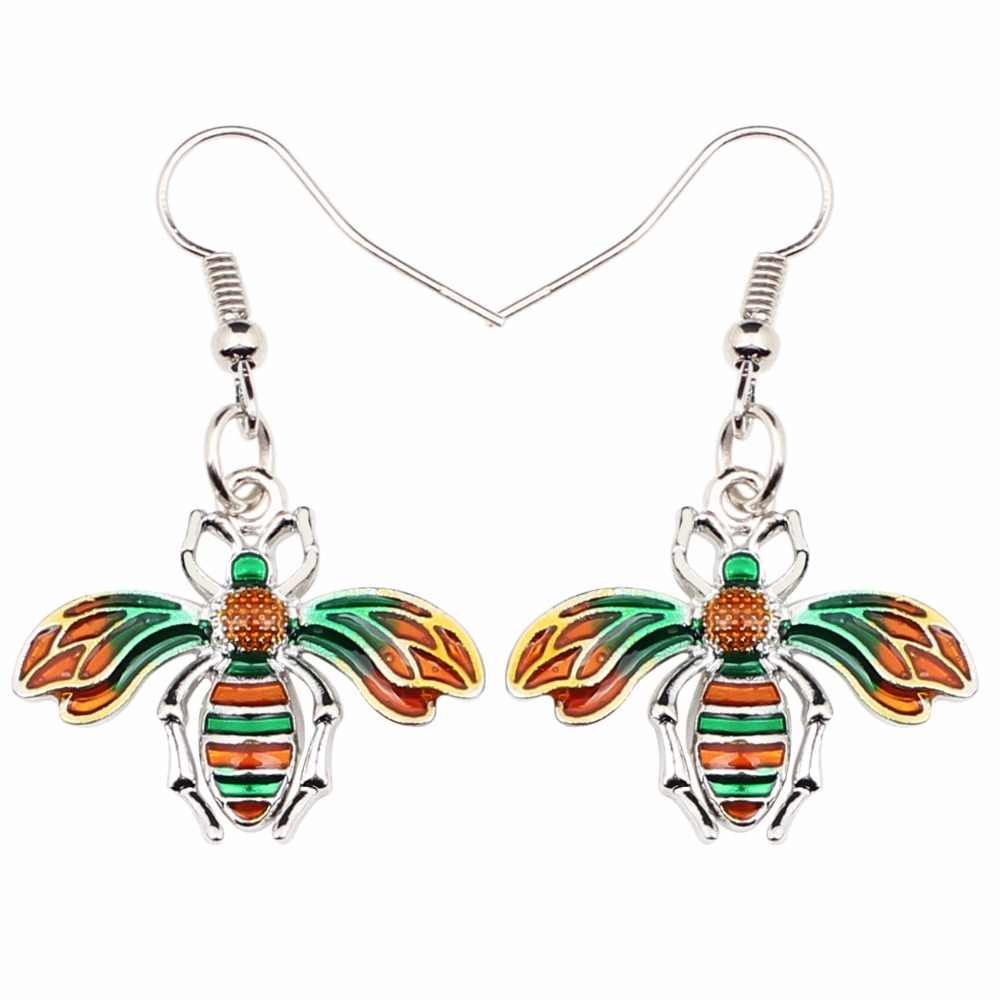 Bonsny Fashion Big Long Enamel Alloy Insect Bee Honeybee Dangle Drop Earrings 2018 News Tools Fashion Jewelry For Girls Women