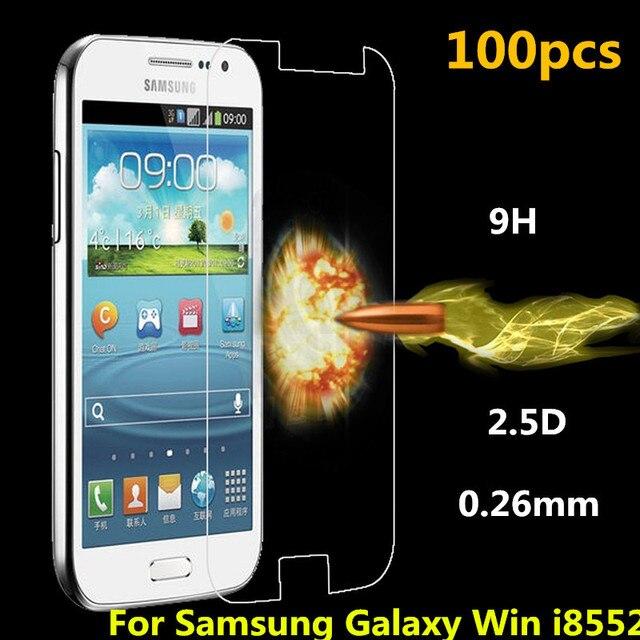 100 unids/lote para samsung galaxy win i8552 explostion a prueba de alta calidad de 0.26mm 2.5d premium vidrio templado protector de pantalla