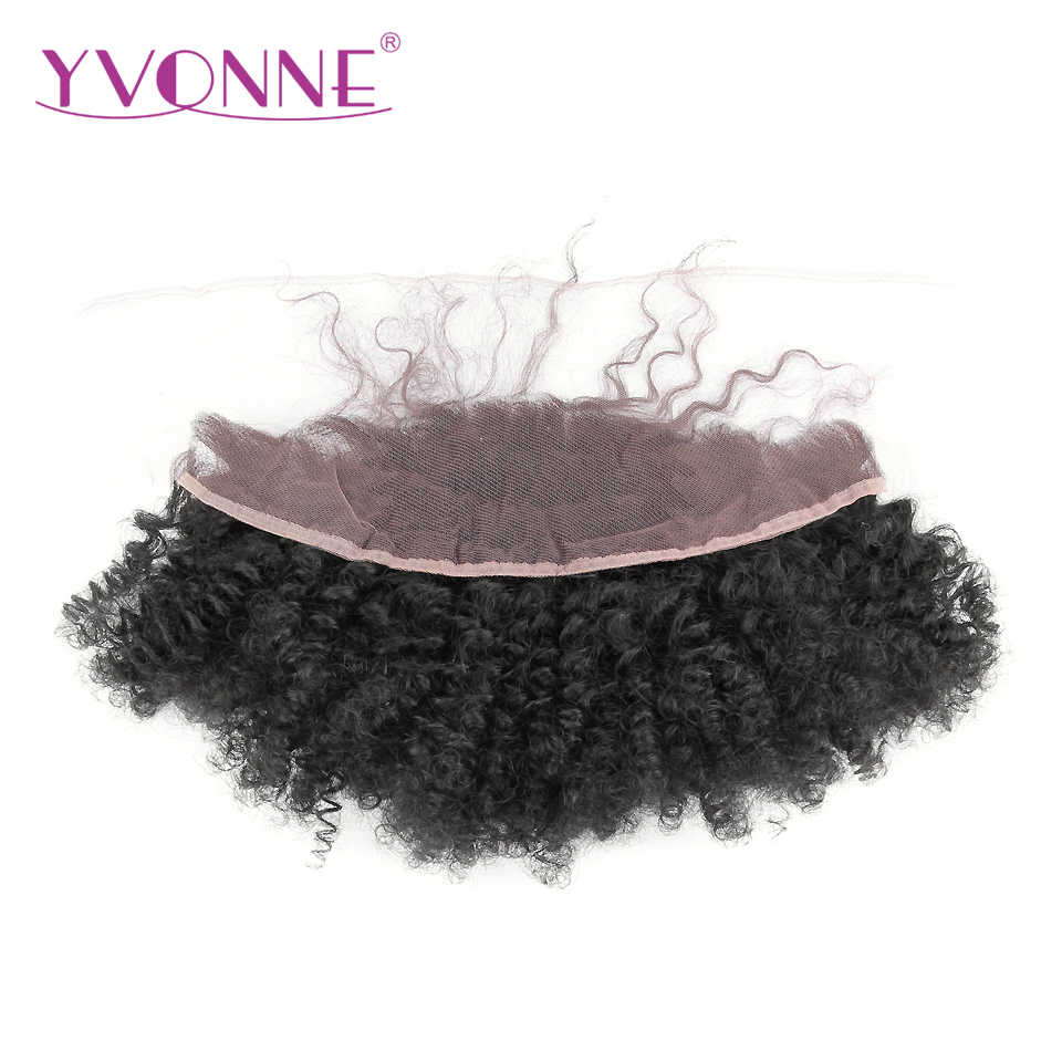 YVONNE Virgin Brazilian Afro Curly Lace Frontal 13x4 Natural Color 100% Human Hair Products