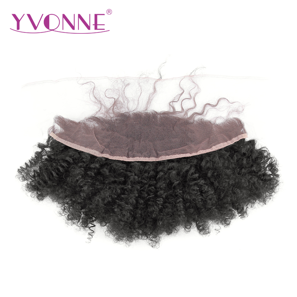YVONNE Virgin Brazilian Afro Curly Lace Frontal 13x4 Natural Color 100% Human Hair Products Free Shipping