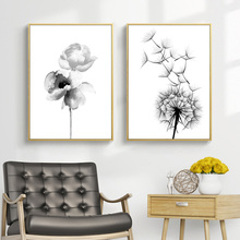 Feather Nordic Poster Black And White Home Decor Abstract Minimalist Painting Canvas Prints Flower Decorative Picture Unframed