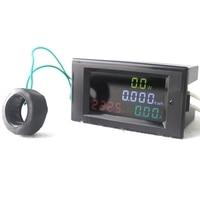 Haute Précision Numérique LED AC80.0-300.0V 0.01-100A Voltmètre Ampèremètre Volt Ampèremètre Watt D'énergie Moniteur HD Écran Couleur
