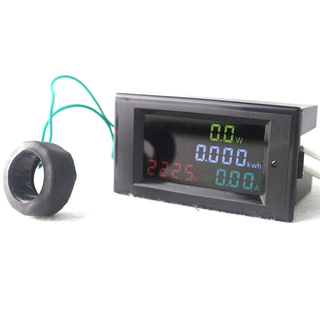 High Accuracy Digital LED AC80.0-300.0V 0.01-100A Voltmeter Ammeter Volt Amp Meter Watt Energy Monitor HD Color Screen