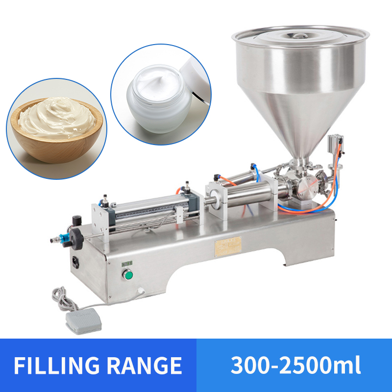 YTK 300-2500ml Single Head Cream Shampoo Pneumatic Filling Machine Piston Cosmetic Paste Cream Shampoo Filling Machine Grind