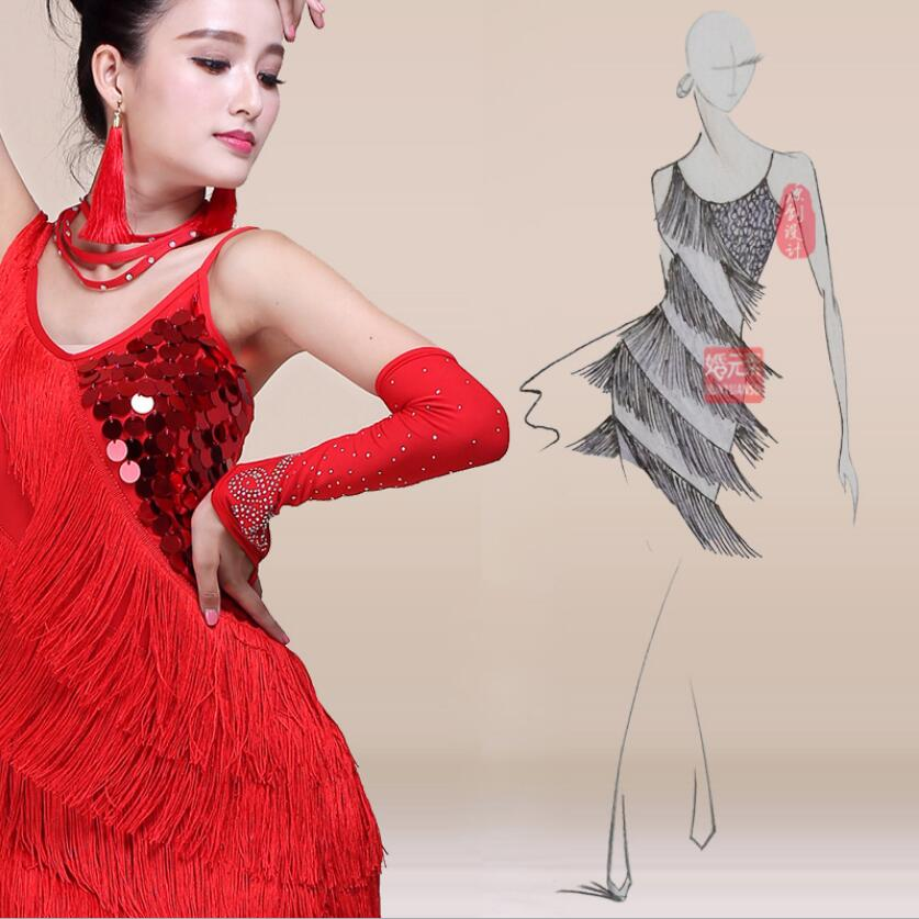 Sexy Women Girls Flashy Sequin Fringe Tassel Skirt Ladies Latin Tango Ballroom Salsa Dance Dress cosplay costume