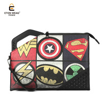 ETONWEAG Fashion Men & Women Messenger Bag Rivet Captain America Superman Marvel Cartoon Printing Crossbody Clutch Bag Handbags
