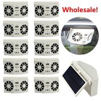 2017! Wholesale Price 10 PCS Solar Sun Power Car Auto Air Vent Cool Fan Cooler Ventilation System Radiator battery Air Purifiers