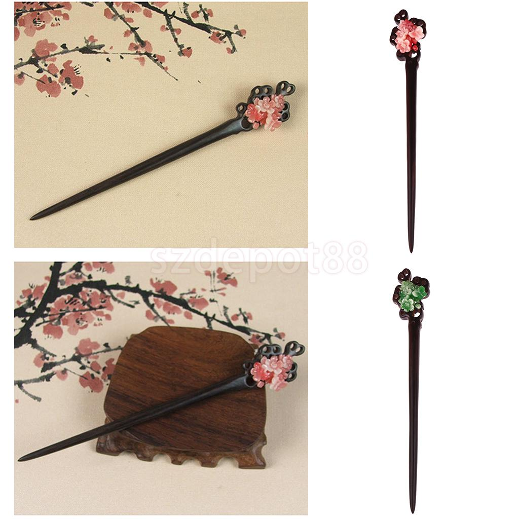 Mother's Day Gift Hand Carved Ebony Jade Flower Hairpin For Women Lady Hair Sticks Pins Hair Chinese Accessories