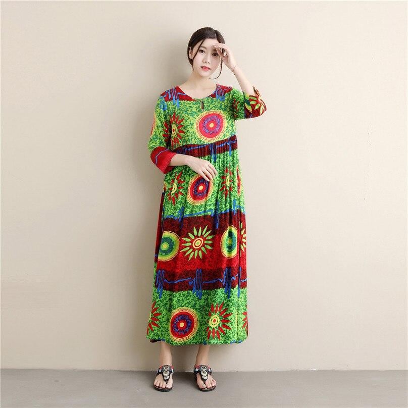 Three Quarter Sleeve dress national Summer new sunflower womens retro style Wear silk Women Floral Print Long Dress