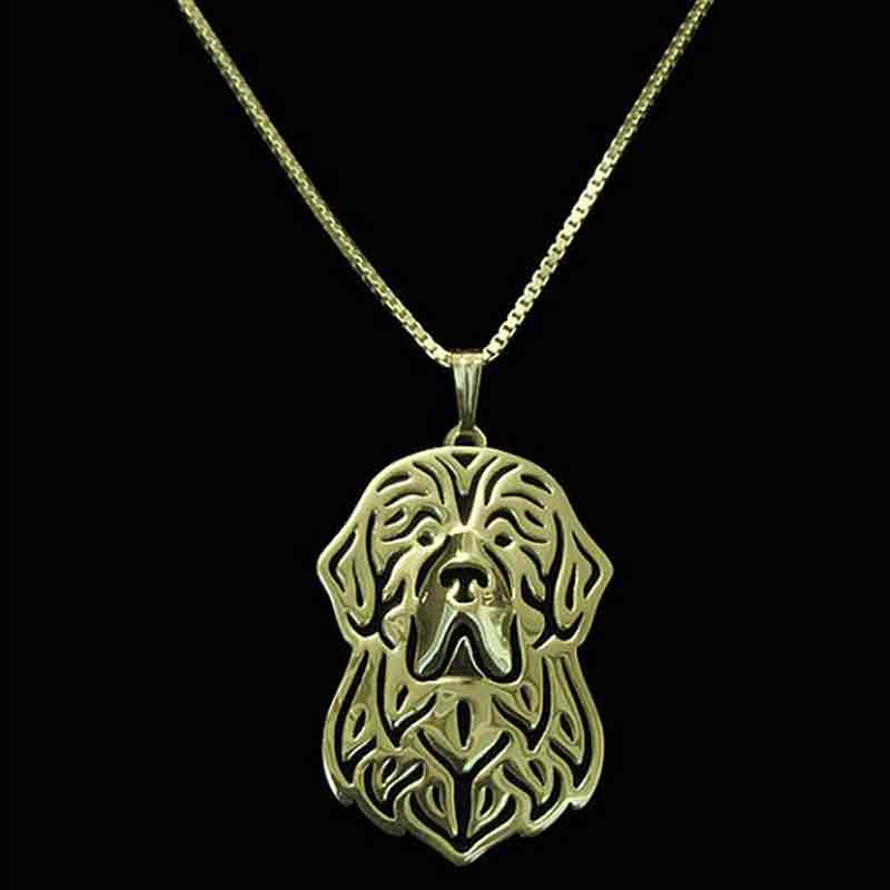 Newfoundland Dog Pendant Neckalces Gold-color For Pet Lovers Women Animal Jewelry & Cloth Accessories 2017