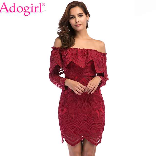 76e86aa0c24e Adogirl Solid Burgundy Lace Off Shoulder Ruffle Mini Dress Elegant Women  Sexy Slash Neck Long Sleeve Bandage Short Party Dresses