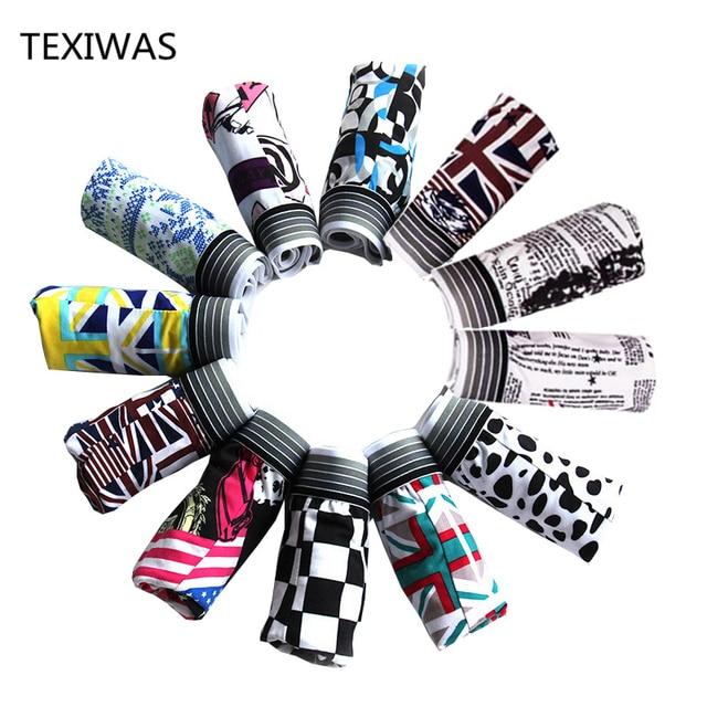 Texiwas 10 ピース/ロットファッションシルク下着男性の漫画のプリント男ボクサーオム快適なパンツソフト通気性の男性のパンティー