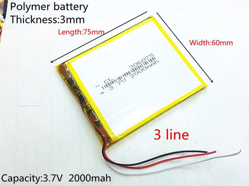 306075 3.7 V 2000 mAh Rechargeable Li-Polymère Li-ion Batterie Pour GPS Tablet PC PocketBook 306075PL 4G-15/4K-19 E-book 306075
