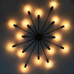 W stylu Vintage pająk lampy sufitowe dla domu oprawa z kutego lampa sufitowa żelazna E27 żarówka salon Lamparas De Techo