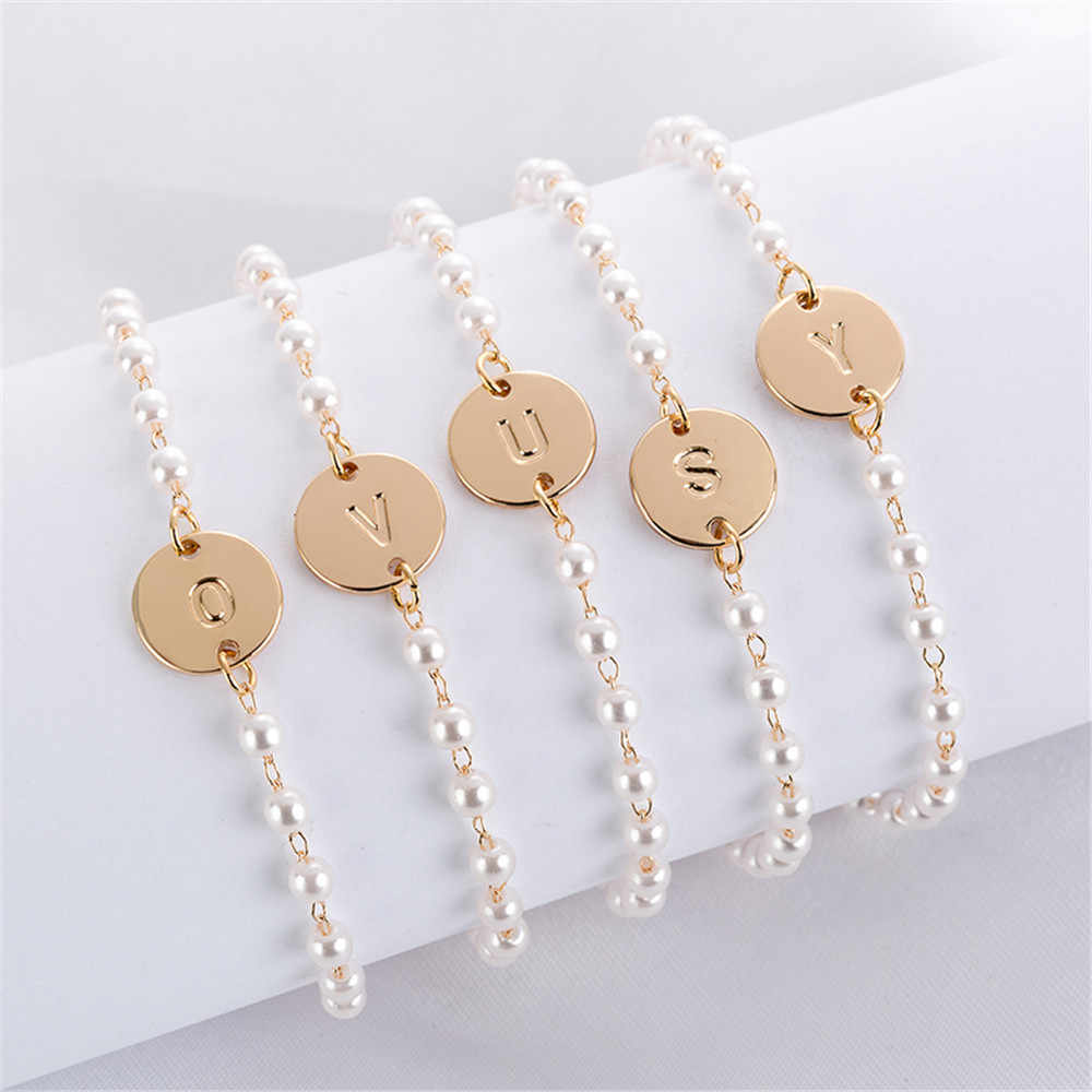 1PC Dainty Initial Letter Bracelet Gold Stainless Steel Name Charm Bracelets Women Personalized Jewelry Bridesmaid Gift