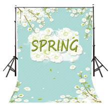 5x7ft Spring Backdrop Just Blooming White Flowers Green Background Photography Studio Props