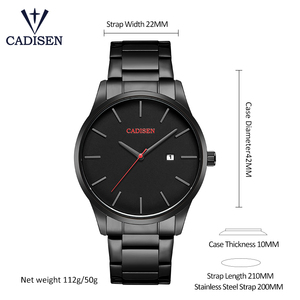 Image 2 - Men Watch CADISEN Brand Military Wrist Watches Full Steel Famous Business Quartz Men Watch Clock Waterproof Relogio Masculino