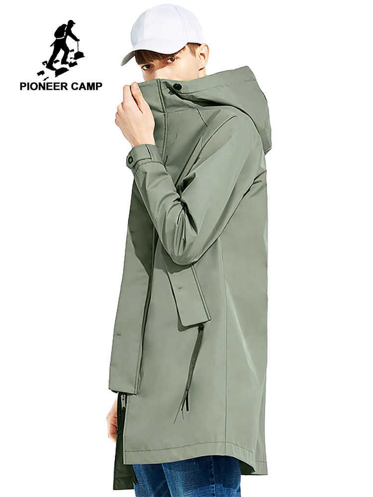 Pioneer camp Spring solid hooded long jacket coat men brand clothing casual fashion outerwear windbreaker male coat