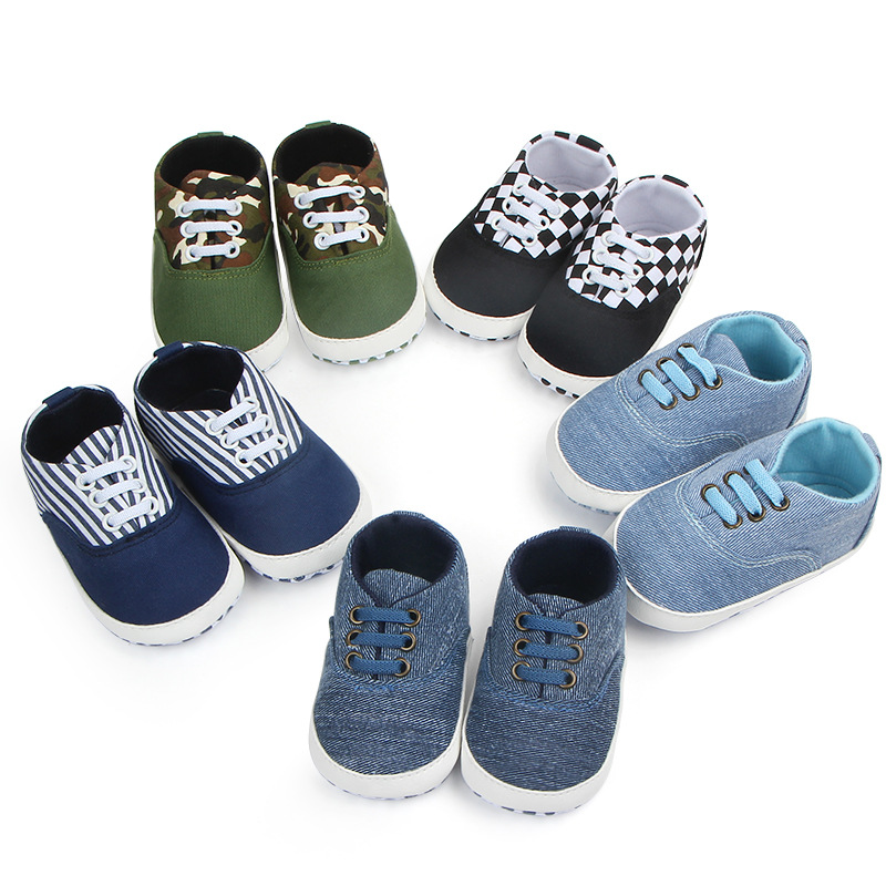 Baby Boy Shoes With Strapes Mixed Colors Infant Canvas Prewalker Shoes  Crib Cotton Shoes For 0-18 Month Infant Boy Shoes