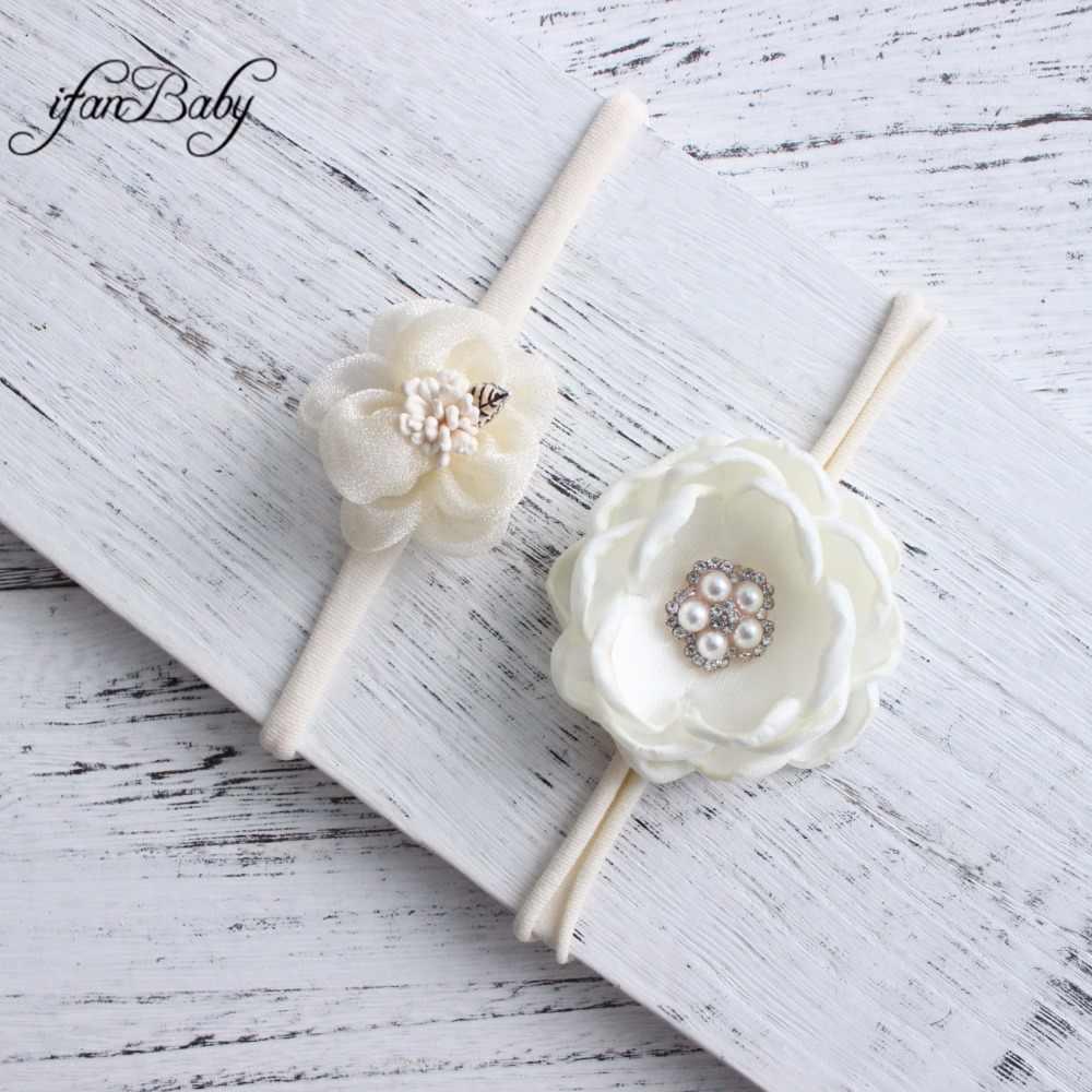 Diadema de flor de nilón suave color marfil, conjunto de 2 piezas, flor quemada con encaje de Organza, diadema de flores de diamantes de imitación para bebés y niñas