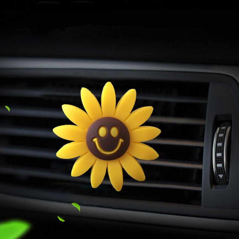 אביזרי רכב עבור בנות אוויר מטהר חמוד רכב בושם חמניות Vent קליפ רכב ניחוח ריח מפזר אוטומטי פנים דקור