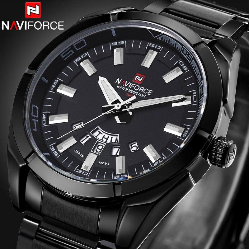 Prix pour Relogio Masculino Naviforce Montres Hommes Marque De Luxe En Acier Plein Noir Japon Quartz Hommes Montre Calendrier Sport Horloge Hommes Montre-Bracelet