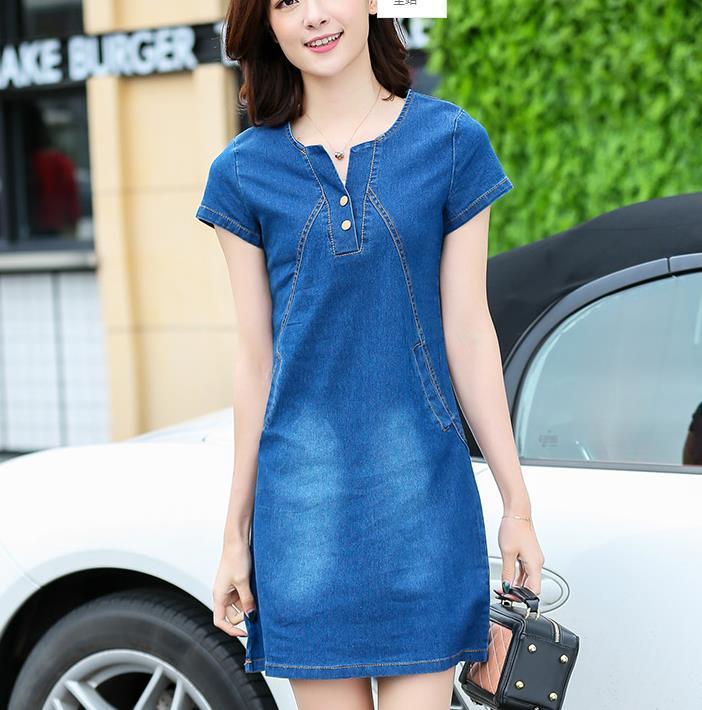 86bfd61240a Summer Women V-neck Short Sleeve Plus Size A Line Denim Dress Slim Casual  Office Denim Jeans Dress Vestidos Robe