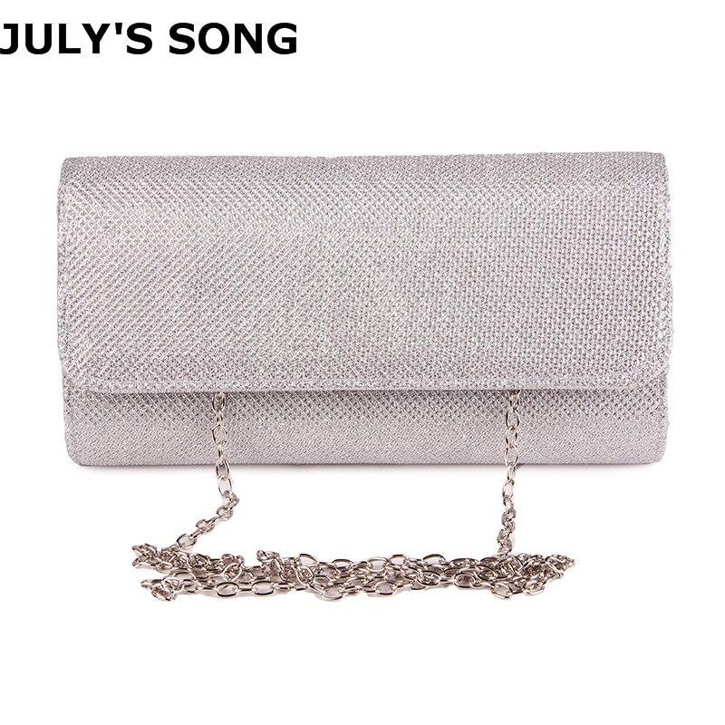 JULY'S SONG Women Evening Clutch Bag Ladies Day Clutch Purse Chain Handbag Bridal Wedding Lady Party Bag Bolsa Mujer Silver