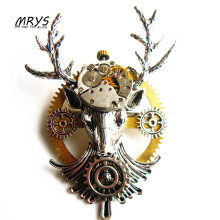 steampunk gothic elk deer antler mechanical watch clock parts gears brooch pins pendant chain charm women