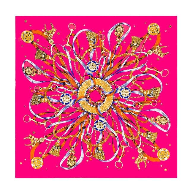 100 * 100cm2016women шелковый шарф большой леди большой площади синий 100% шелк пятно шарф бренд печать шелковые платки обертывания шарфы пашмины
