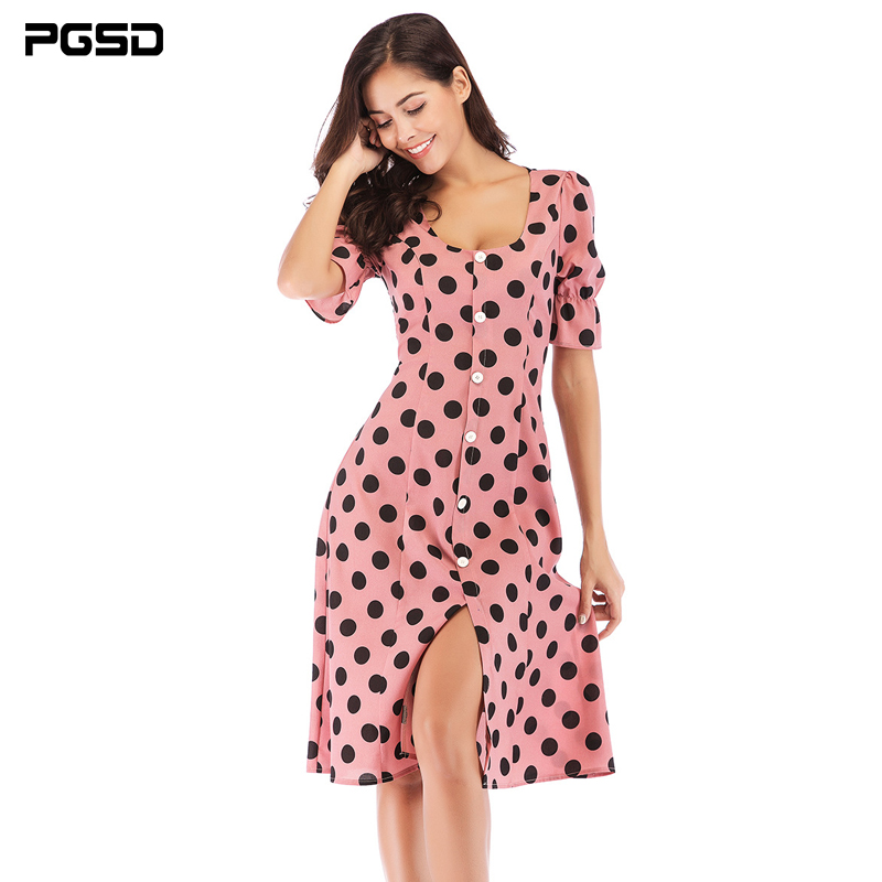 PGSD Spring summer O Neck Short sleeved wave point single breasted Office lady casual retro Dress female Fashion women clothes in Dresses from Women 39 s Clothing