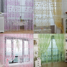 Flower Printed Curtain Translucent Window Drapes Floral Semi Sheer Kids Girls Bedroom Blinds HOT 2019(China)