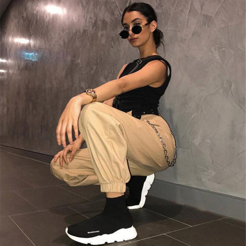 Women's high waist cargo trousers cotton pants solid punk casual loose long sports fashion plus size 5
