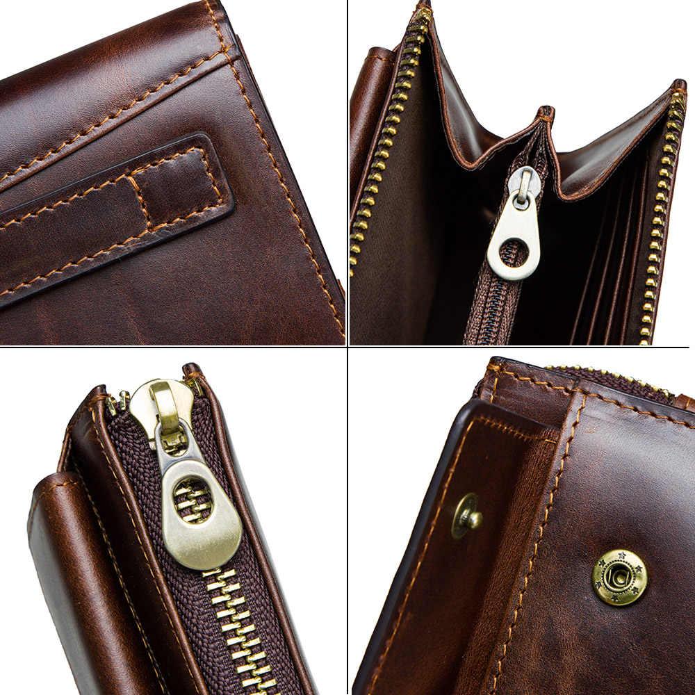 CONTACT'S Мужской кожаный  повседневный  вместительный клатч  RFID  с отделением для карт мужские длинные кошельки для мобильного телефона деловые сумки 2019