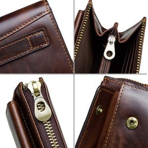 Image 5 - CONTACTS cartera de mano de piel auténtica anti RFID para hombre, billetera larga informal de alta capacidad, portatarjetas, carteras masculinas