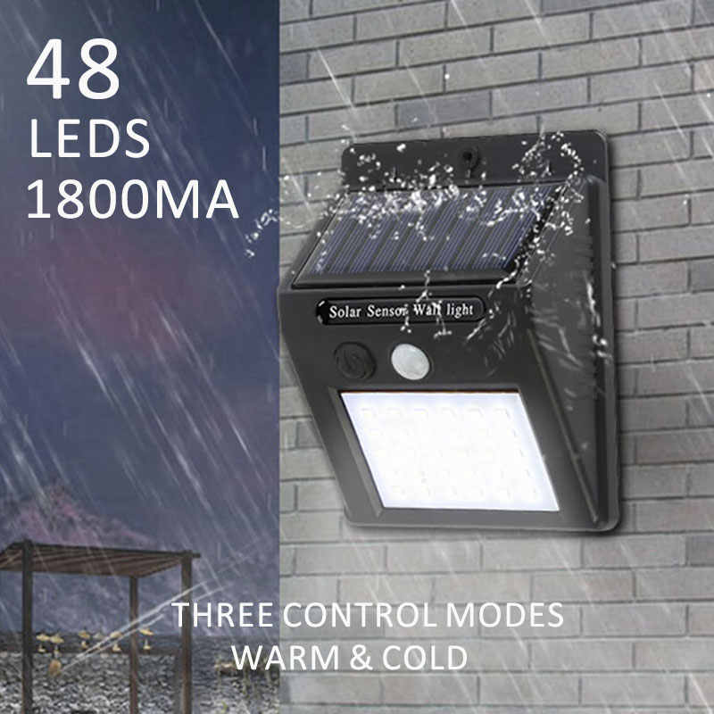 48leds 1800mA LED Solar light Bulb Outdoor Garden lamp Decoration PIR Motion Sensor Night Security Wall light Waterproof