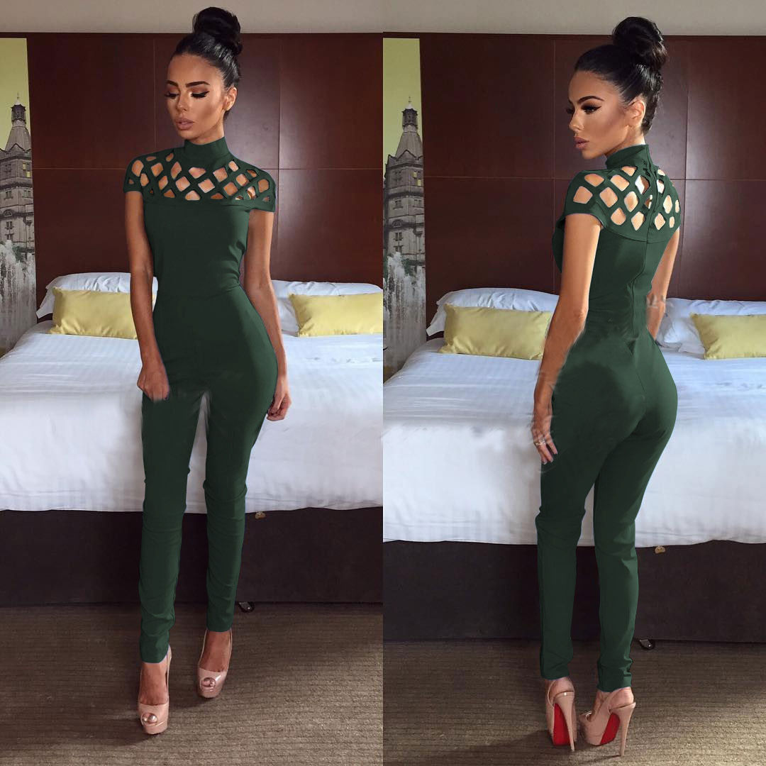 Hirigin 2019 Women Clubwear Hollow Out Playsuit Bodycon Party Jumpsuit Long Trousers